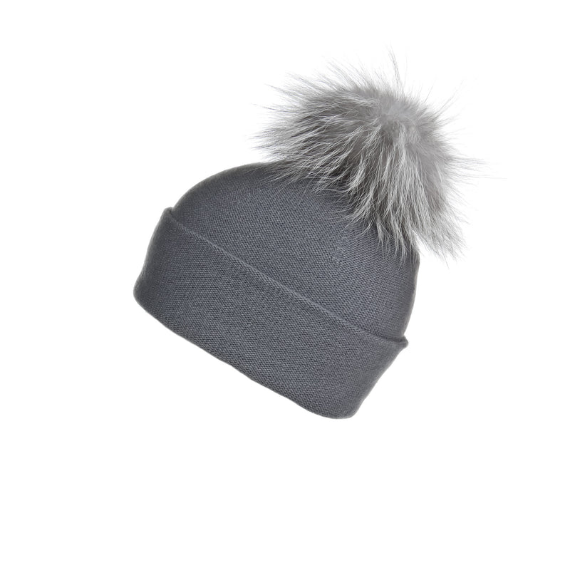 Reversible Slouchy Grey Cashmere Hat with Light Grey Pom-Pom, Hat with Pom - Loveknitz