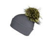 Fold-Over Grey Cashmere Hat with Electric Blue Pom-Pom