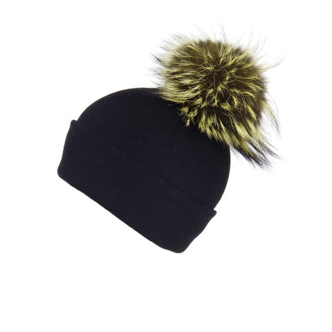 Reversible Slouchy Black Cashmere Hat with Gold Heart and Light Caramel Pom-Pom