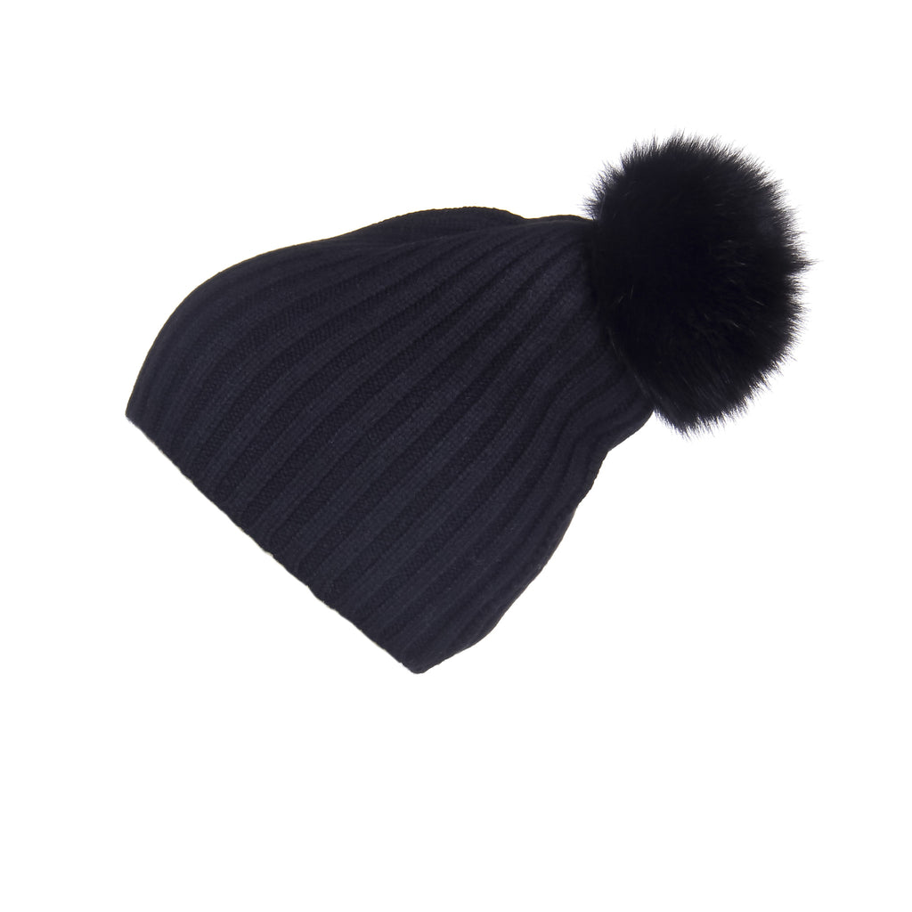 Ribbed Black Cashmere Hat with Black Pom-Pom, Hat with Pom - Loveknitz