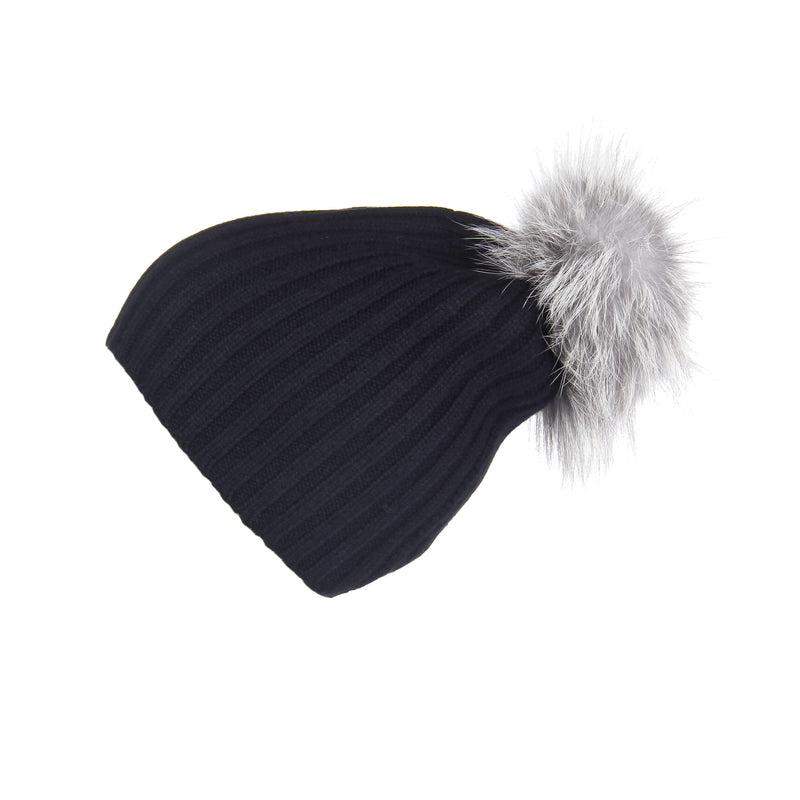Ribbed Black Cashmere Hat with Light Grey Pom-Pom, Hat with Pom - Loveknitz
