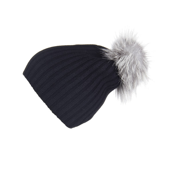 Ribbed Black Cashmere Hat with Light Grey Pom-Pom – Loveknitz 725930a1e3a