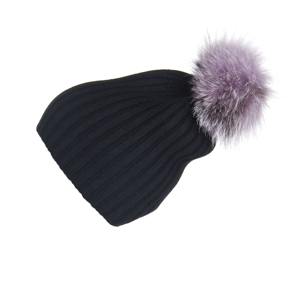 Ribbed Black Cashmere Hat with Lilac Pom-Pom, Hat with Pom - Loveknitz