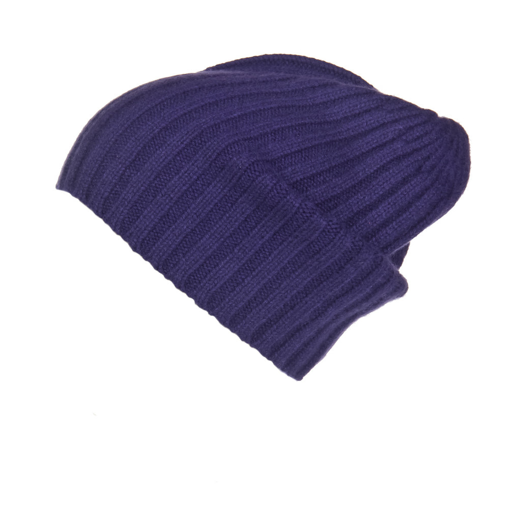 Ribbed Purple Cashmere Hat, Hat - Loveknitz