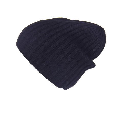 Reversible Slouchy Black Cashmere Hat with White Heart