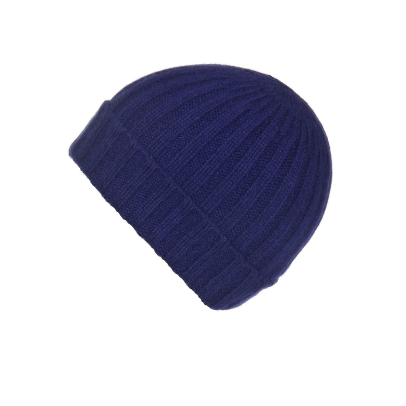 Ribbed Navy Cashmere Hat, Hat - Loveknitz