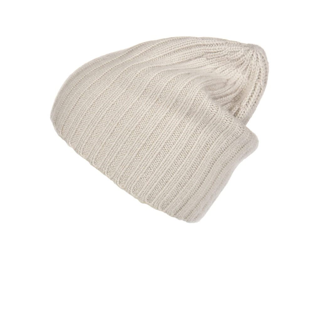 Ribbed Sand Cashmere Hat, Hat - Loveknitz