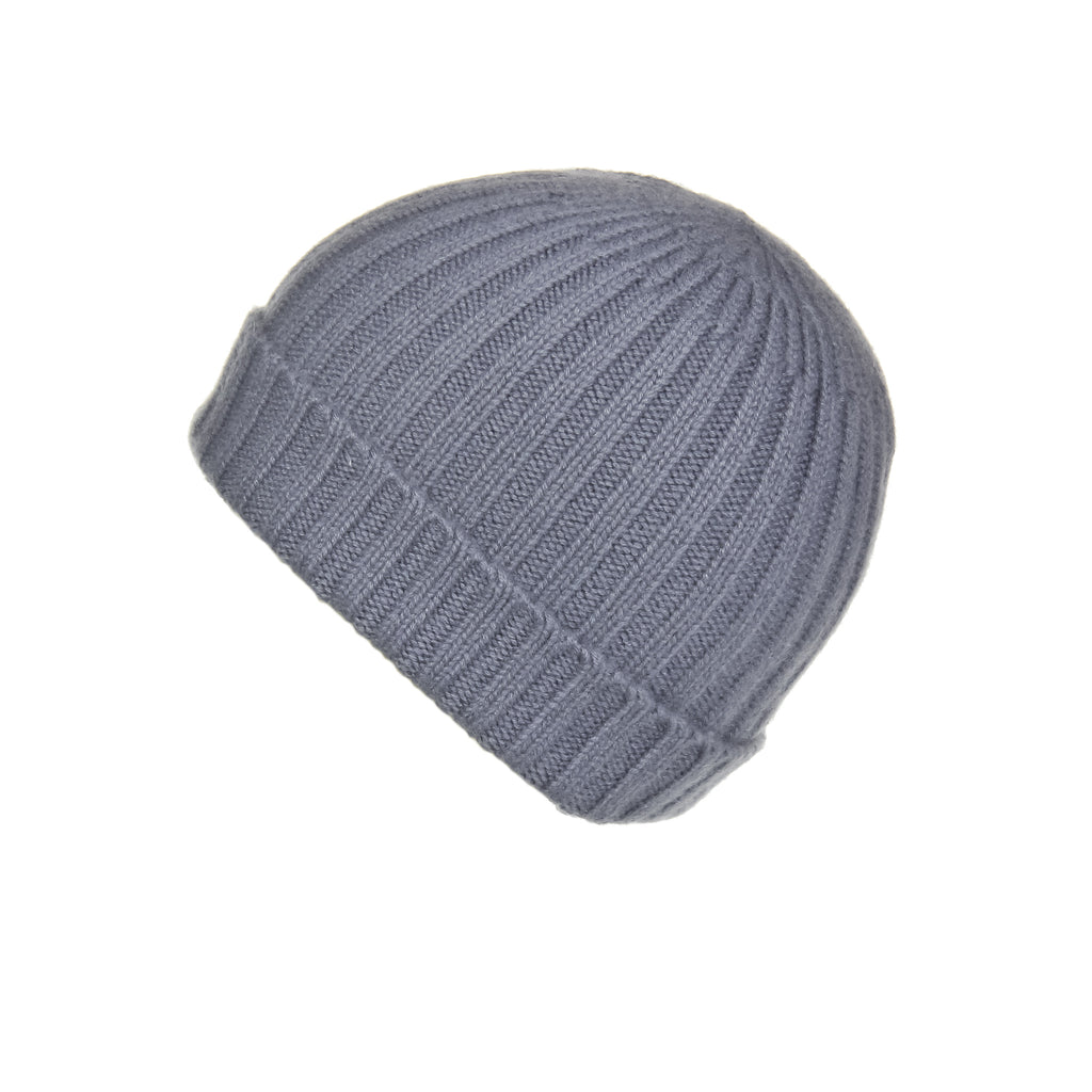 Ribbed Grey Cashmere Hat, Hat - Loveknitz