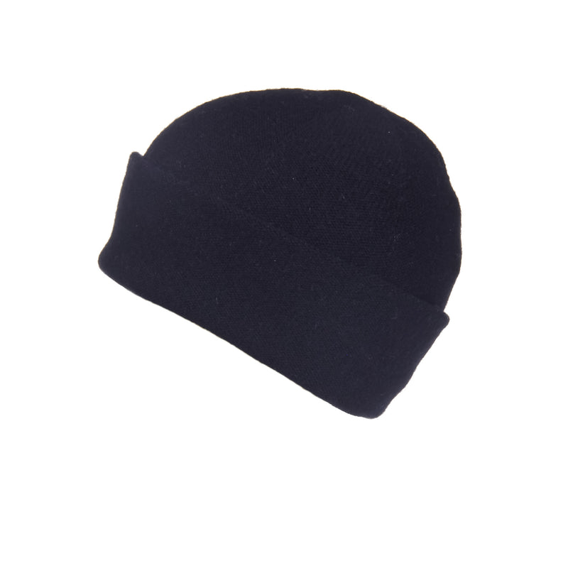 Reversible Slouchy Black Cashmere Hat, Hat - Loveknitz