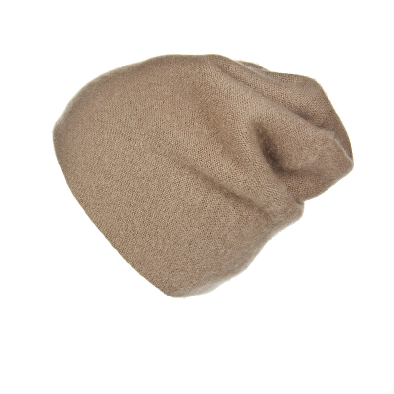 Reversible Slouchy Caramel Cashmere Hat, Hat - Loveknitz