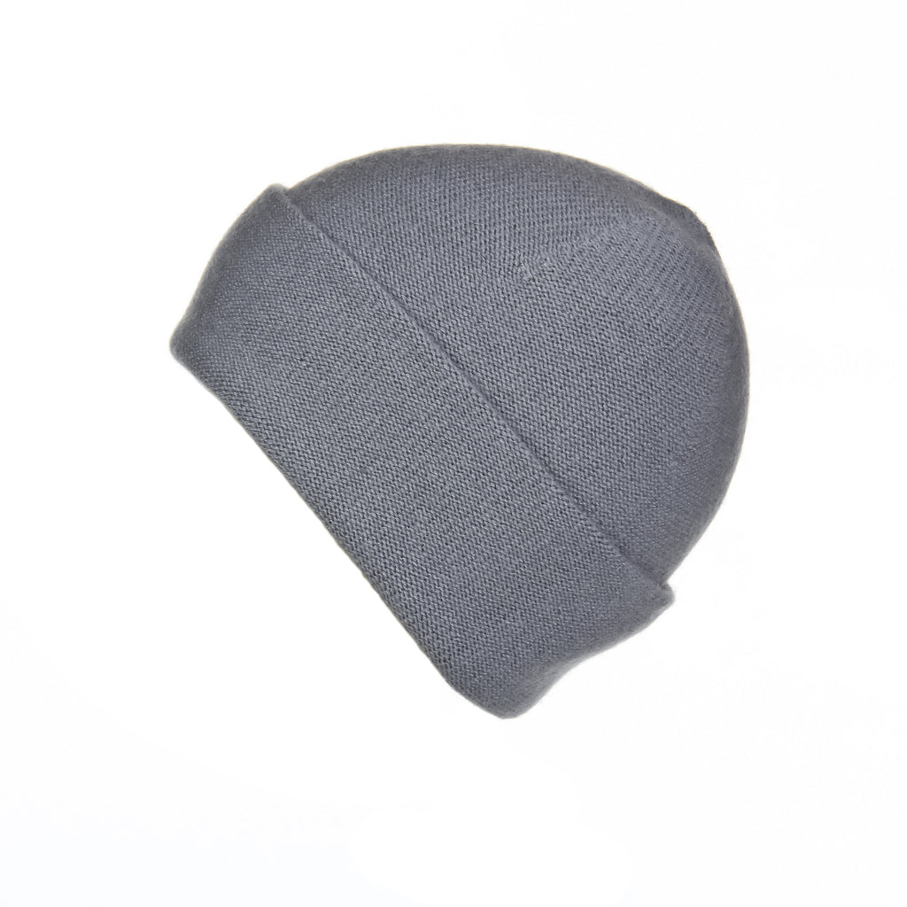 Reversible Slouchy Grey Cashmere Hat, Hat - Loveknitz