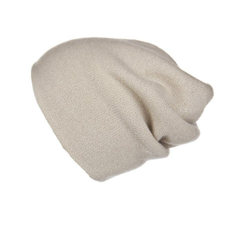 Pearl Stitched Light Grey Cashmere Hat