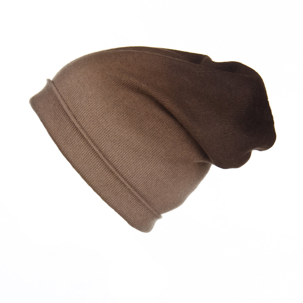 Brown Ombré Slouchy Cashmere Hat, Hat - Loveknitz