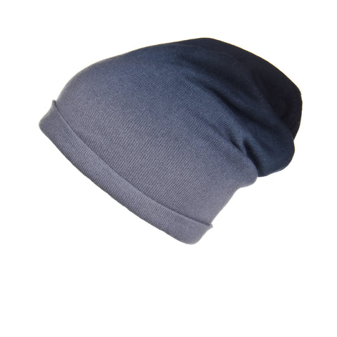 Reversible Slouchy Grey & Caramel Striped Cashmere Hat