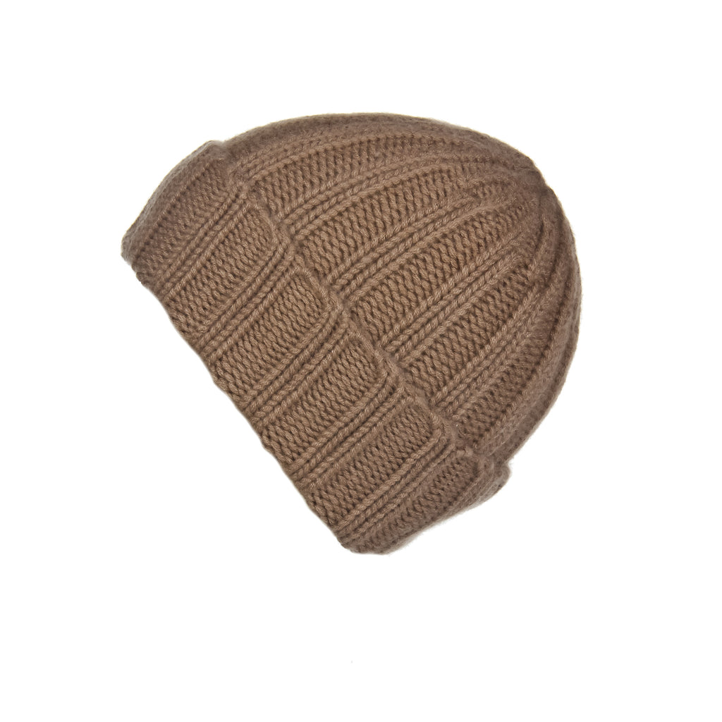 Fold-Over Ribbed Caramel Cashmere Hat, Hat - Loveknitz