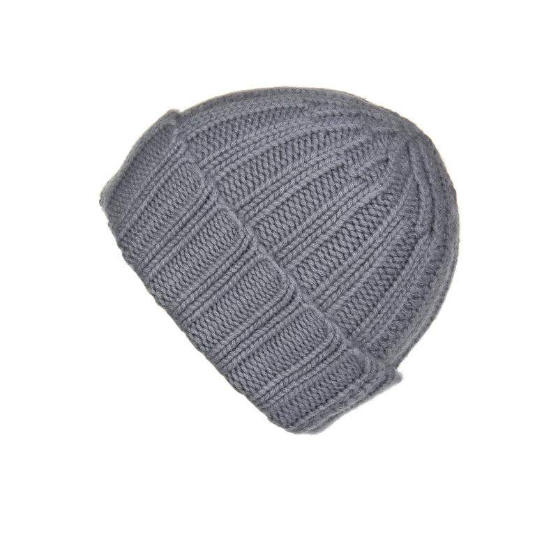 Fold-Over Ribbed Grey Cashmere Hat, Hat - Loveknitz