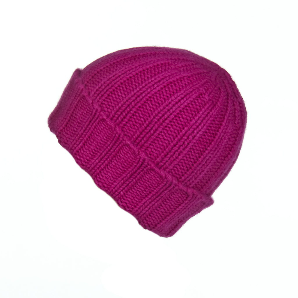 Fold-Over Ribbed Fuchsia Cashmere Hat, Hat - Loveknitz