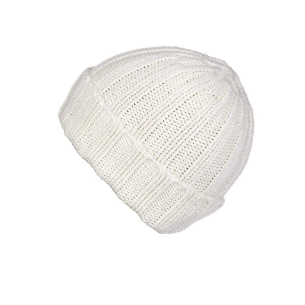 Fold-Over Ribbed Ivory Cashmere Hat, Hat - Loveknitz