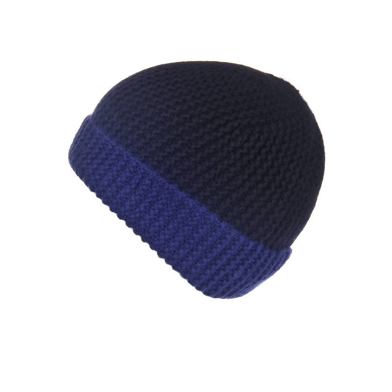 Pearl Stitched Blue Ombré Cashmere Hat, Hat - Loveknitz