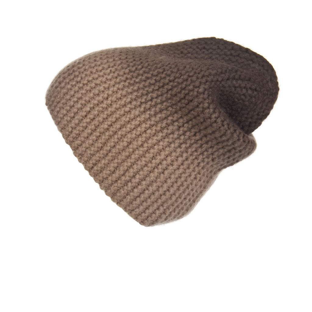 Pearl Stitched Brown Ombré Cashmere Hat, Hat - Loveknitz