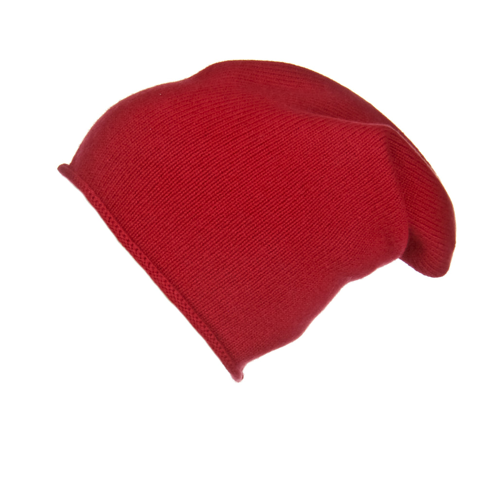 Jersey Roll Slouchy Red Cashmere Hat, Hat - Loveknitz