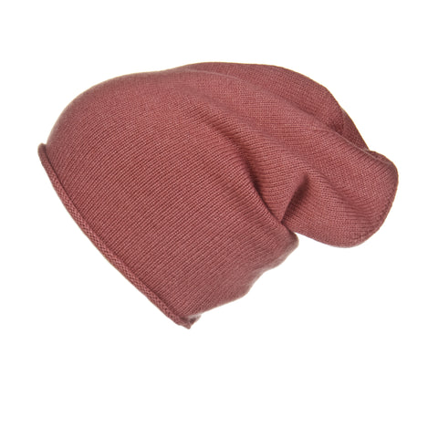 Fold-Over Ribbed Fuchsia Cashmere Hat