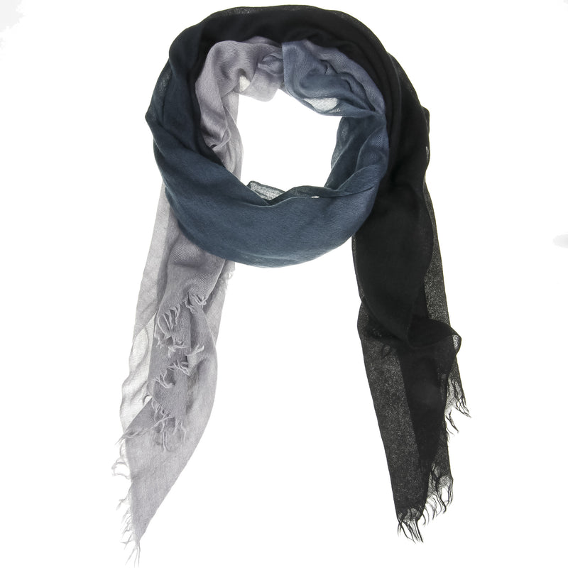 Black Ombré Hand Woven Cashmere Wool Scarf, Scarves - Loveknitz