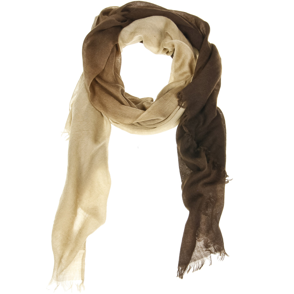 Brown Ombré Hand Woven Cashmere Wool Scarf, Scarves - Loveknitz