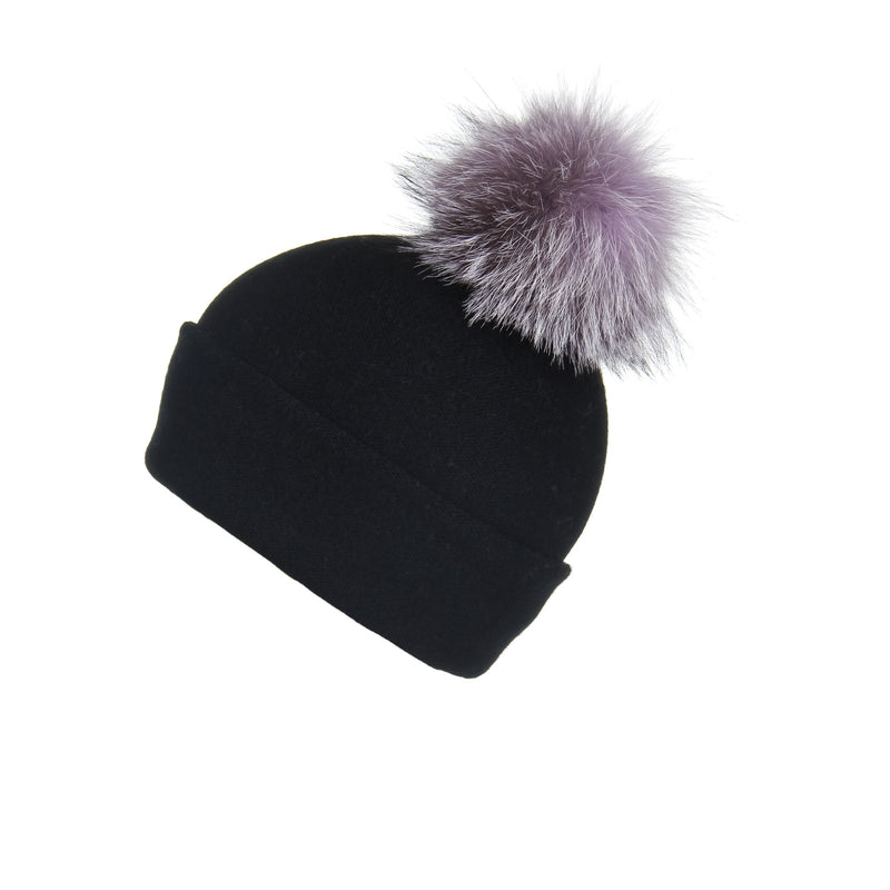 Reversible Slouchy Black Cashmere Hat with Lilac Pom-Pom, Hat with Pom - Loveknitz