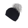 Reversible Slouchy Black Cashmere Hat with Light Caramel Pom-Pom