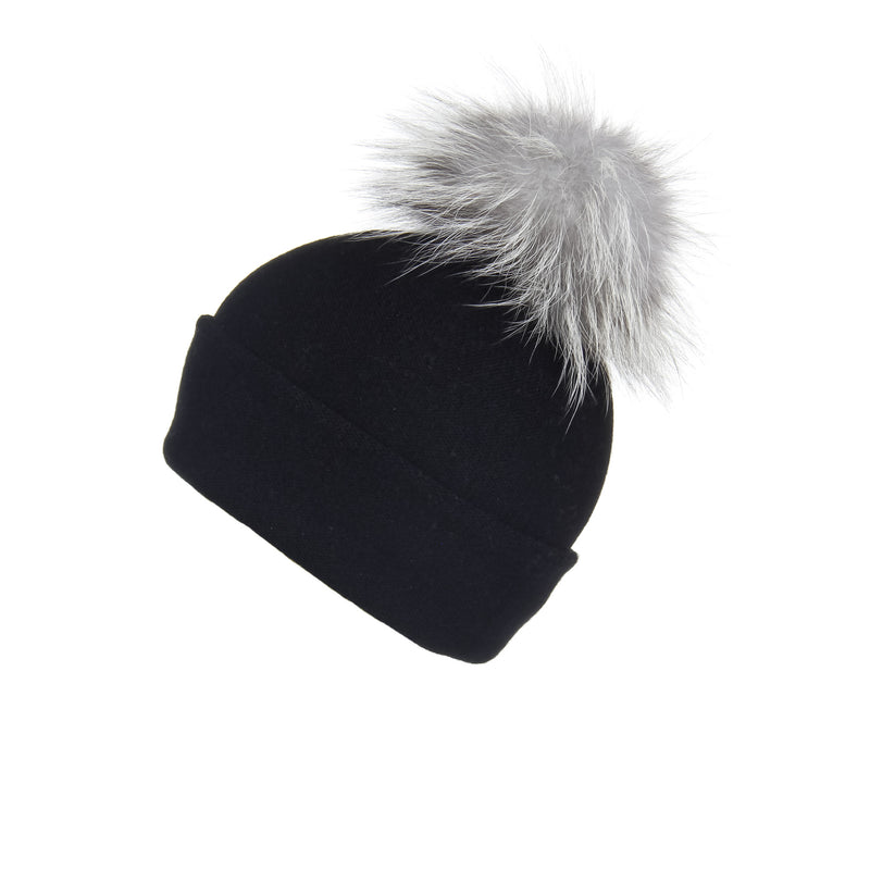 Reversible Slouchy Black Cashmere Hat with Light Grey Pom-Pom, Hat with Pom - Loveknitz