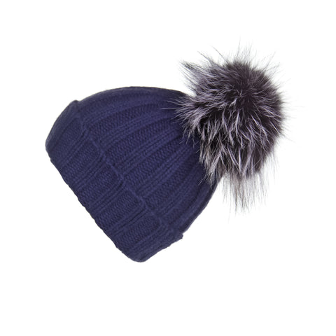 Ribbed Navy Cashmere Hat with Caramel Pom-Pom