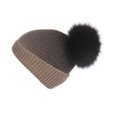 Reversible Slouchy Grey Cashmere Hat with Light Grey Pom-Pom