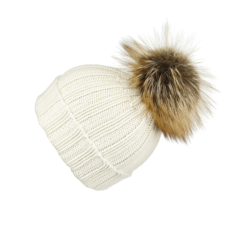 Fold-Over Ivory Cashmere Hat with Light Caramel Pom-Pom, Hat with Pom - Loveknitz