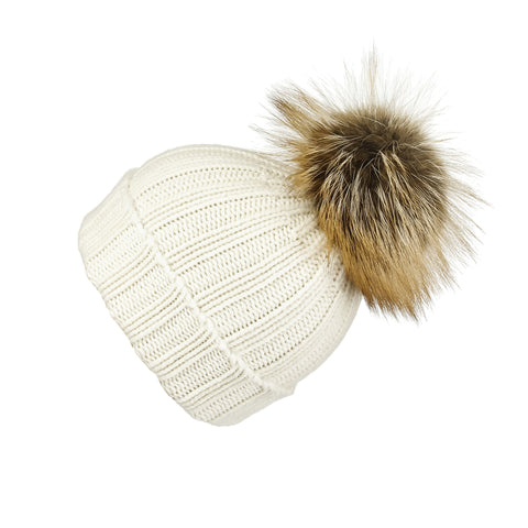 Reversible Slouchy Grey & Caramel Striped Cashmere Hat with Light Caramel Pom-Pom