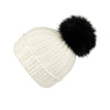 Ribbed Black Cashmere Hat with Lilac Pom-Pom