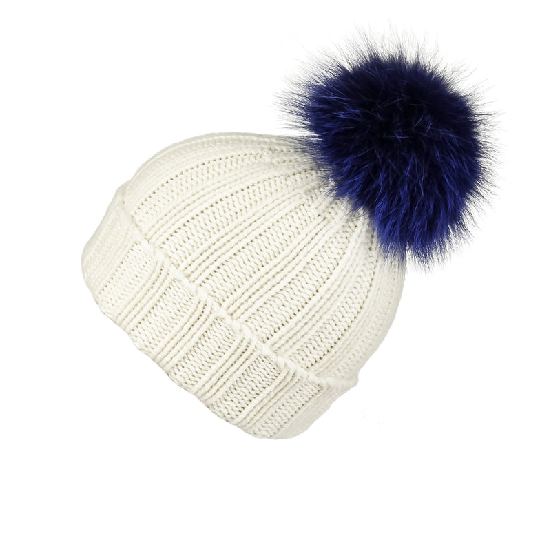 Fold-Over Ivory Cashmere Hat with Electric Blue Pom-Pom, Hat with Pom - Loveknitz