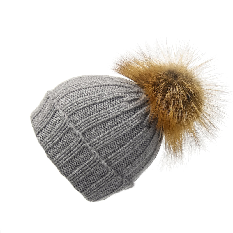 Fold-Over Grey Cashmere Hat with Light Caramel Pom-Pom, Hat with Pom - Loveknitz