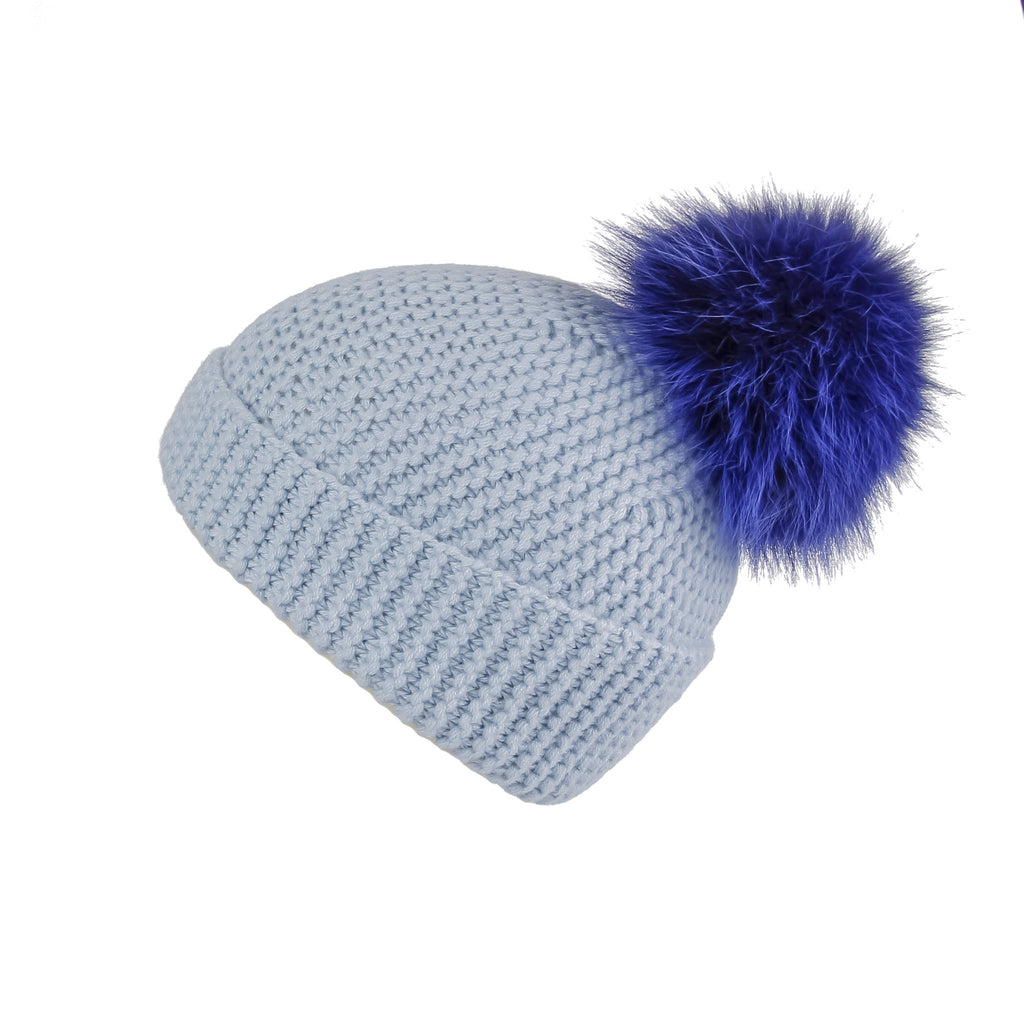 Pearl Stitched Light Blue Cashmere Hat with Electric Blue Pom-Pom, Hat with Pom - Loveknitz