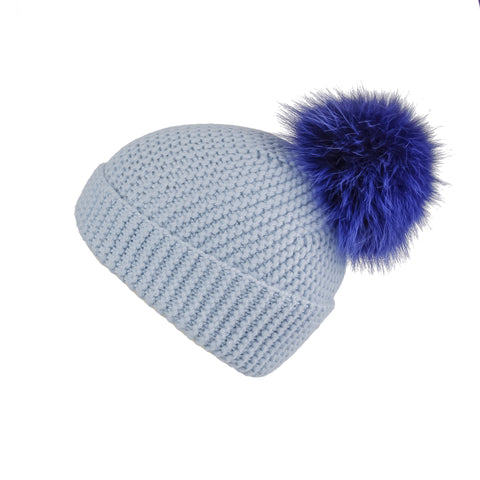 Ribbed Grey Cashmere Hat with Electric Blue Pom-Pom