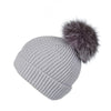 Pearl Stitched Light Grey Cashmere Hat with Lilac Pom-Pom