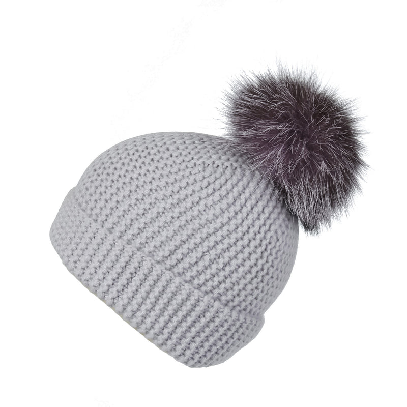 Pearl Stitched Light Grey Cashmere Hat with Dark Lilac Pom-Pom, Hat with Pom - Loveknitz