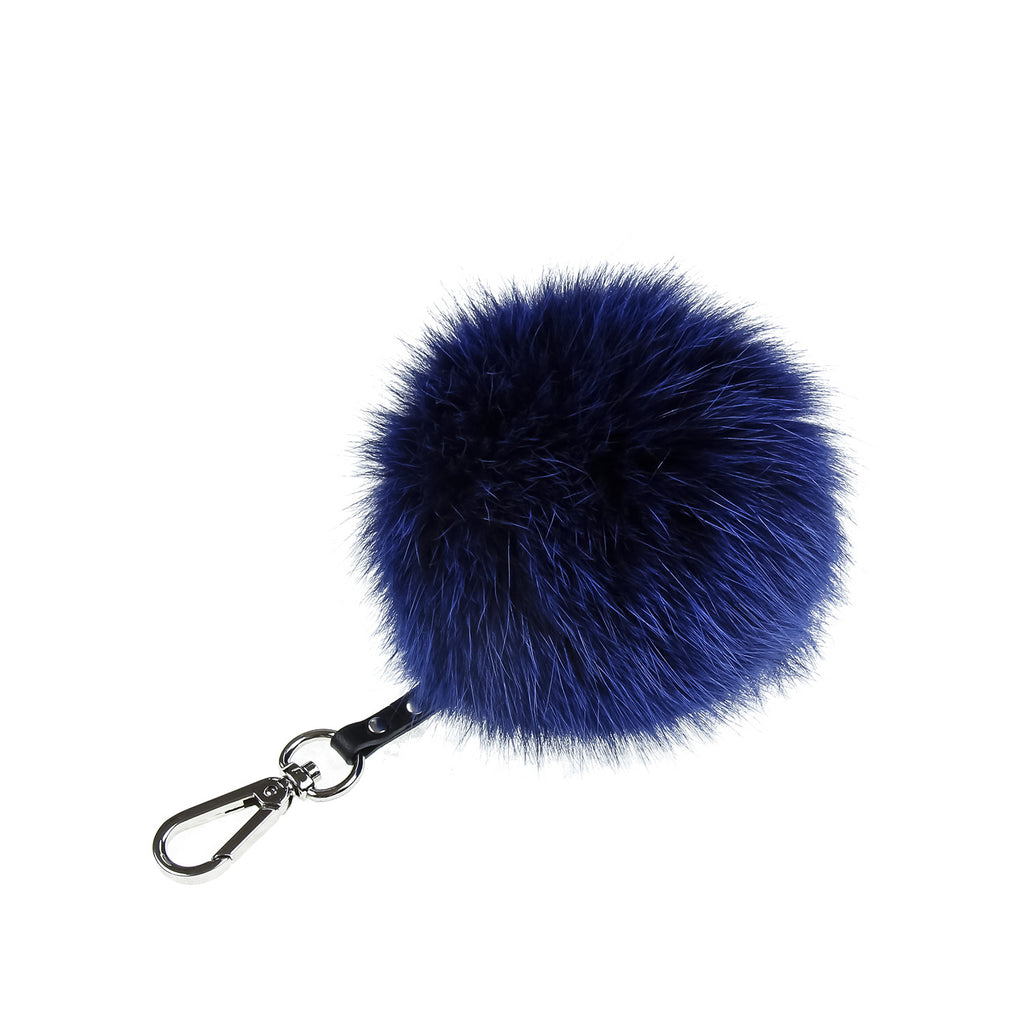 Electric Blue Key and Purse Chain Pom-Pom, KEYCHAIN FUR POM - Loveknitz