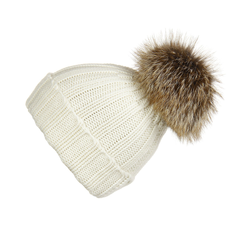Fold-Over Ivory Cashmere Hat with Caramel Pom-Pom, Hat with Pom - Loveknitz