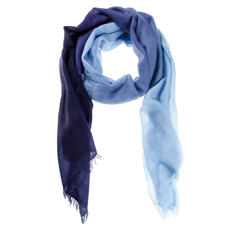 Blue Ombré Hand Woven Cashmere Wool Scarf, Scarves - Loveknitz