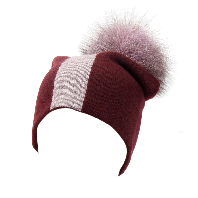 Reversible Slouchy Burgundy and Lilac Striped Cashmere Hat with Lilac Pom-Pom, Hat - Loveknitz