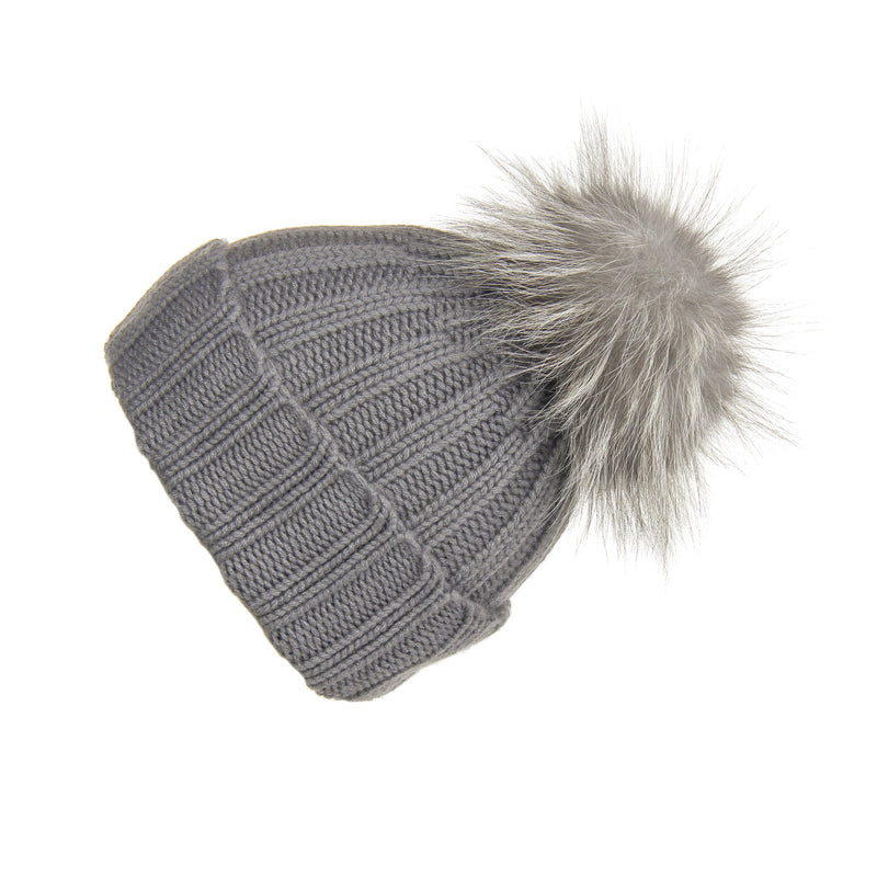 Fold-Over Grey Cashmere Hat with Light Grey Pom-Pom, Hat with Pom - Loveknitz