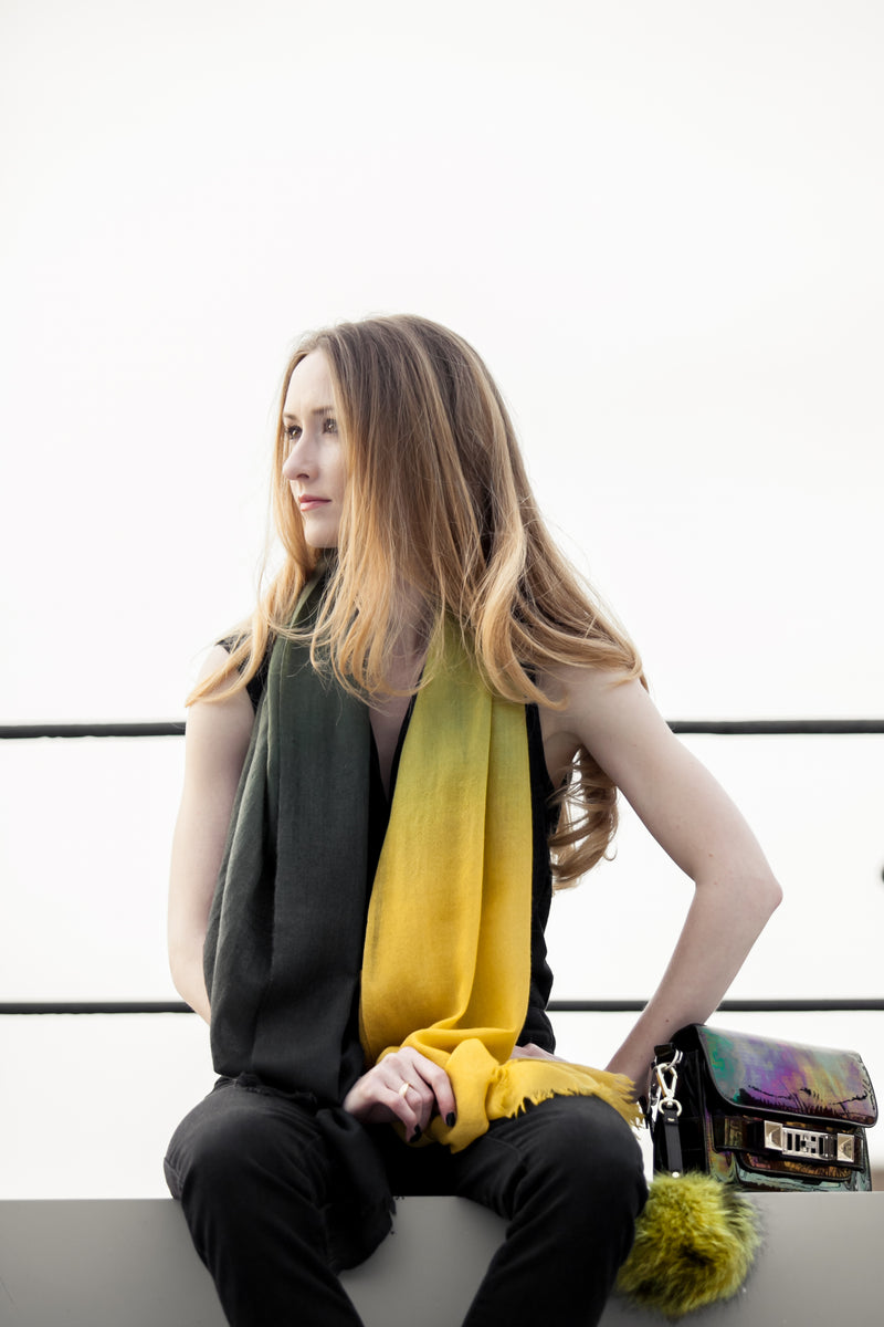 Green Ombré Hand Woven Cashmere Wool Scarf, Scarves - Loveknitz