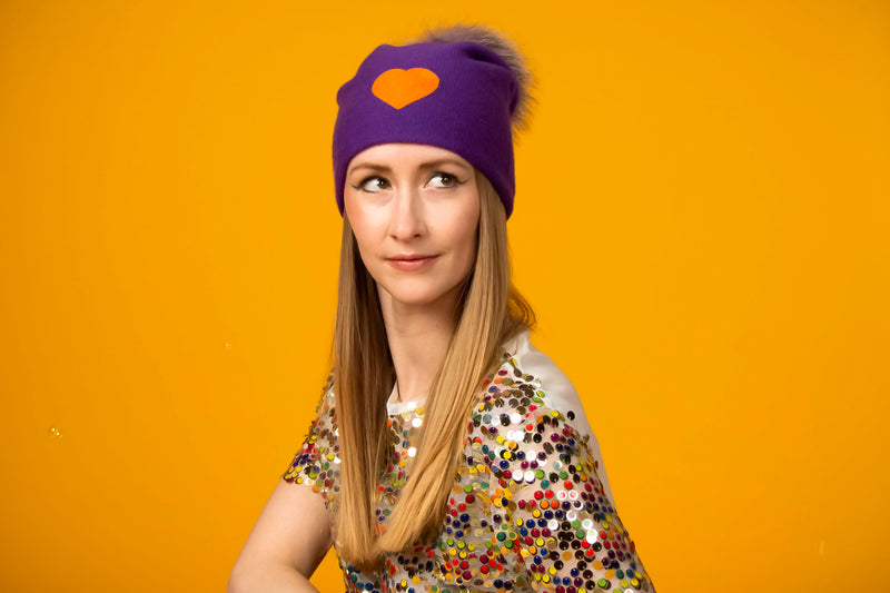 Reversible Slouchy Purple Cashmere Hat with Orange Heart, Hat - Loveknitz