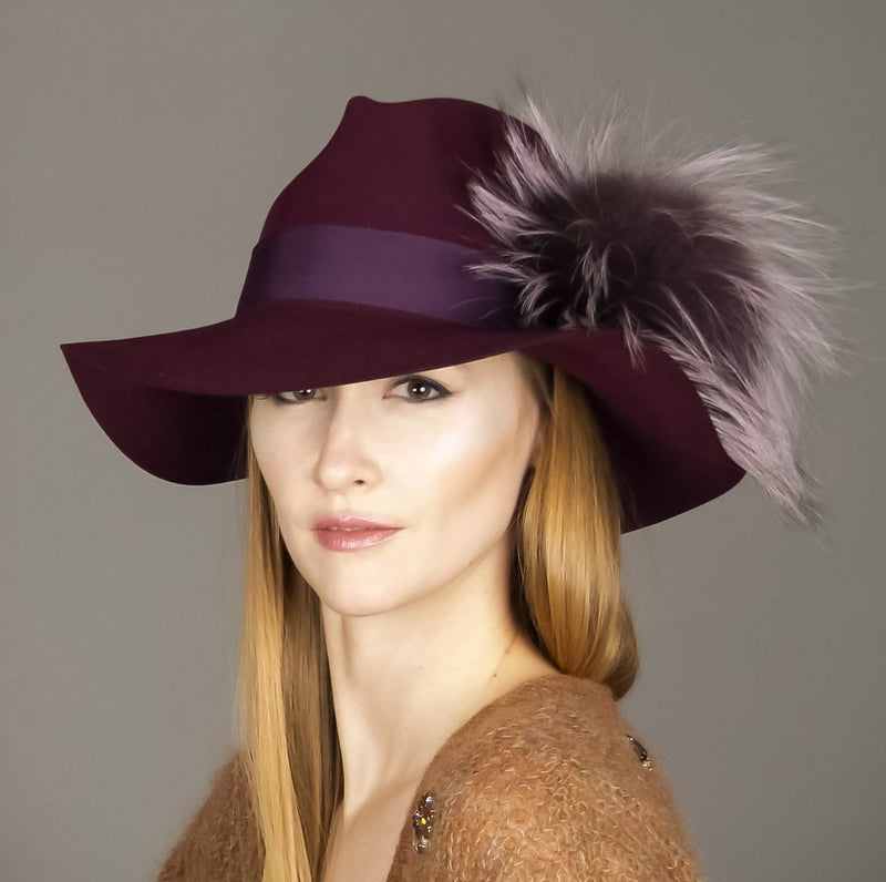 Aubergine Wool Fedora with Fancy Lilac Pom-Pom,  - Loveknitz